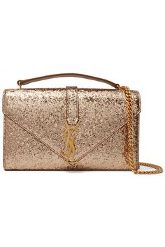 Gold glittered canvas Snap-fastening front flap Weighs approximately 1.8lbs/ 0.8kg  Made in Italy