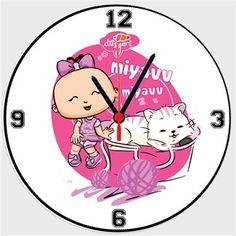 Bebee ve Kedi Kendin Tasarla - Duvar Saati 27cm