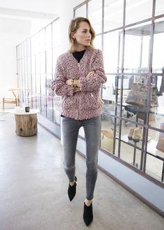 anine bing outfit denim knit bomber jacket