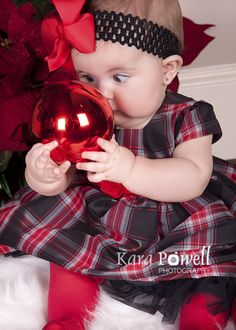 Baytown, TX 6 month old in her first Christmas photo, taken by Kara Powell Photography.