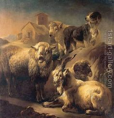 A Goat, Sheep and a Dog Resting in a Landscape by Philipp Peter Roos