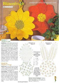 The international flavour of crochet! Crochet Hot Pads, Crochet Pig, Crochet Chart, Crochet Home, Crochet Motif, Irish Crochet, Crochet Doilies, Crochet Flowers, Crochet Potholder Patterns