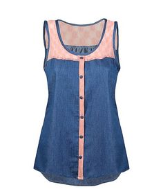 This Coral & Denim Lace-Accent Button-Up Sleeveless Top is perfect! #zulilyfinds