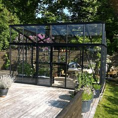 Helios Moderne 310 Drivhus page_title_productpage Backyard Greenhouse, Greenhouse Plans, Balcony Garden, Outdoor Spaces, Outdoor Living, Malm, Backyard Projects, Glass House, Garden Inspiration