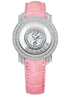 Chopard Happy Diamonds Watches. Small size 18K white gold case with 7 mobile diamonds, white mother of pearl dial, quartz movement, pink leather strap.