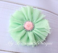 Light pink and mint flower clip, baby girl headband,newborn headband,photography prop, baby pink and mint, pink and green, wedding by MyPreciousBoutique on Etsy https://www.etsy.com/listing/243626631/light-pink-and-mint-flower-clip-baby