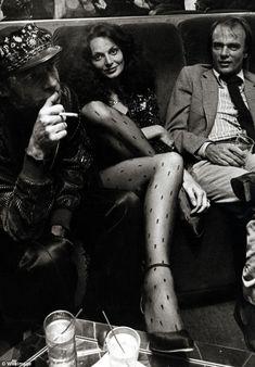 Inside Studio 54: Diane von Furstenberg (centre) attends the party for Egon Von Furstenberg's Book 'The Power Look' on September 25, 1978 at Studio 54
