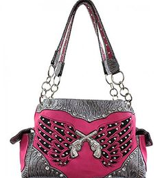 Fuchsia and Silver Double Pistol and Wing Purse - Handbags, Bling & More!
