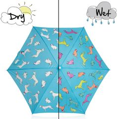 Holly and Beau - Cats and dogs Color Changing umbrella. This magic umbrella changes color in the rain, returning back to the original color once dry. Childrens Umbrellas, Kids Umbrellas, Dog Umbrella, Personalised Posters, Outdoor Gifts, Cat Dog, Quirky Gifts, Kids Branding, Nerd Geek