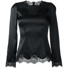 Dolce & Gabbana lace trim fitted blouse ($1,040) ❤ liked on Polyvore featuring tops, blouses, black, lacy blouses, lace blouse, dolce gabbana blouse, long sleeve blouse and scallop hem top