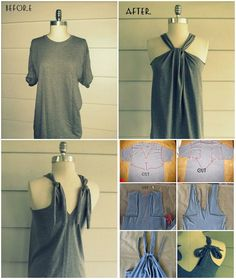 If you have some forgotten old t-shirts in your closet and you are in the mood for a quick diy project, try out this no sew t-shirt halter project. Fashion