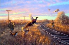"""This Sieve print shows one of the best places to find pheasants also side the railroad tracks Image Size `25"""" x 16.5"""