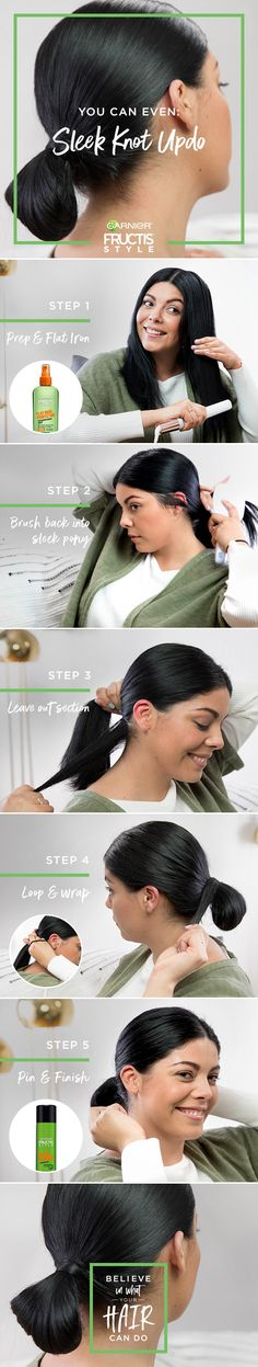 Sleek Knot Updo How To |  Step One: Apply Sleek & Shine Flat Iron Protector to dry hair, then flat iron hair until it's smooth and pin straight. |  Step Two: Part hair. Apply Sleek & Shine Anti-Humidity Hairspray to hairbrush and brush it into a smooth low ponytail at the base of your neck. |  Step Three: Take your finger and make a hook, pulling out a small section of hair from the base of the ponytail for later. Secure ponytail with an elastic band. |  Step Four: Before releasing the…
