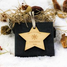 Engraved Maple Wood Star Snowflake and Year Decoration