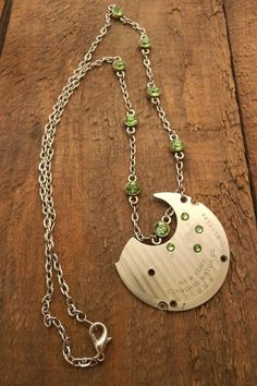 Steampunk Necklace Handmade Peridot Pale by BackAlleyDesignsINK #Group2020