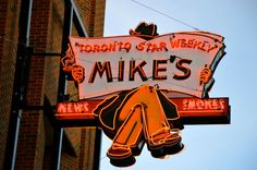 Mike's News and Smokes neon sign - Edmonton, AL, Canada