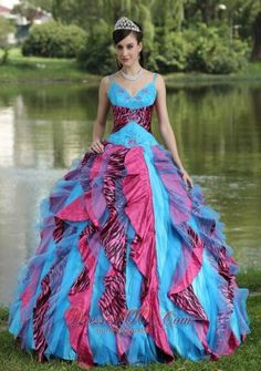 New Organza Straps Beading For 2013 Colorful Quinceanera Dress In North Carolina