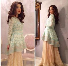 wears a Peplum top with hand embroidery from the Summer Bloom collection paired with flared Gharara pants, to the Celebrity lounge Eid special hosted by Cybil Chowdhry, Asim Yar Tiwana and special co host Ahsan Khan. Pakistani Frocks, Pakistani Wedding Outfits, Pakistani Dress Design, Pakistani Dresses, Indian Dresses, Indian Outfits, Eid Dresses, Frock Design, Gharara Pants