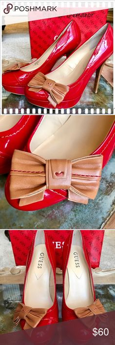 """Guess Red SEXY Pin-up Platform Heel NEW IN BOX 8M New in Box Guess Red Patent Leather Super Sexy!   Perfect for that eye-catching look! Size 8M,  5 in. Heel. I measured from the back of the heel to the tip. The platform is 1.5"""".   There is a beautiful tan bow with gorgeous stitching! They were worn on carpet once by my 3 year old daughter who at the time was fascinated by heels! Tiny scuff on inner right shoe, see pic. Happy Poshing ♥️ Guess Shoes Heels"""