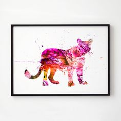 Tiger watercolor. Colorful decor. Animal art.  Printed on high quality art paper.  SIZES:  8.3 x 11.7 (A4) 11.7 x 16.5 (A3)  This print comes