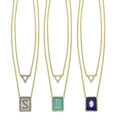 Jemma Wynne 18kt and diamond necklaces in Chalcedony, Turquoise, and Lapis