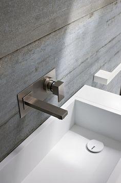 White and grey bathroom, Argo acrylic washbasin by Rexa design _