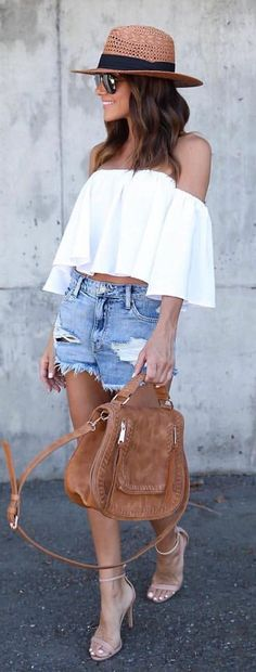 #summer #outfits Brown Hat + White Off The Shoulder Top + Ripped Denim Short 😍🙌