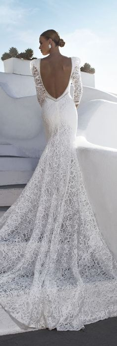 Julie Vino mermaid wedding gown with long lace sleeves