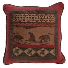 Check out the HiEnd Accents LG1845P1 Cascade Lodge Bear Scene Pillow in Red/Brown