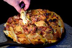 Bacon Cheese Garlic Bread, wood pellet grill, BBQ, Smoker, recipe