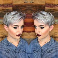 Silver grey hair and pixie cut. Instagram: @chelsea_thestylist