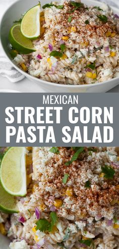 This easy Mexican Street Corn Pasta salad recipe is the best summer side dish to bring to a BBQ or party. It's packed with sweet corn kernels and dressed in a creamy sour cream and mayo based dressing with a hint of chili and a splash of lime. Can easily be made ahead of time. Summer Side Dishes, Healthy Side Dishes, Side Dishes Easy, Corn Pasta Salad Recipe, Easy Pasta Salad, Creamy Pasta Salads, Mexican Street Corn, Salad Dishes, Healthy Summer Recipes