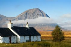 ༺✿ Black Rock Cottage and Buachaille Etive Mor, Glencoe, Scotland.