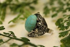 Large turquoise round cabochon cut natural healing stone polished silver plated adjustable size 8.5 & up tibetan ring