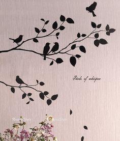 Dos ramas con vuelo de los pájaros  vinilo pared por NatureStyle