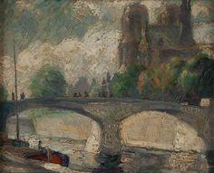 """Notre Dame Cathedral, Paris, France,"" Bernard Badura, ca. 1925, Oil on canvas, 8 1/4 x 10 1/4"", Woodmere Art Museum."