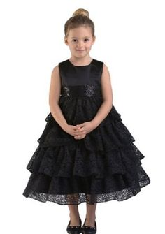 638d48843e Halley Holiday Satin and Lace Tiered Flower Girl Dress in 2 Colors Little  Girls Fancy Dresses