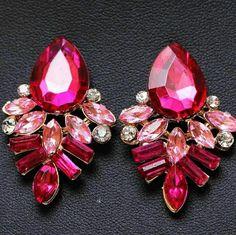 Fuchsia Crystal Earrings Beautiful fuchsia art deco style earrings Wild Plum Boutique  Jewelry Earrings