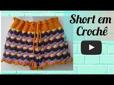 SHORT DE CROCHÊ COLORIDO REAPROVEITANDO SOBRAS DE LINHAS - YouTube Crochet Bikini Pattern, Swimsuit Pattern, Crochet Shorts, Lace Shorts, Crochet Patterns, Crochet Squares, Crochet Stitches, Short Tejidos, American Girl Crafts