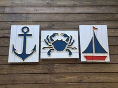 Handmade Blue Crab with Rope© Beach Pallet Art by BeachByDesignCo