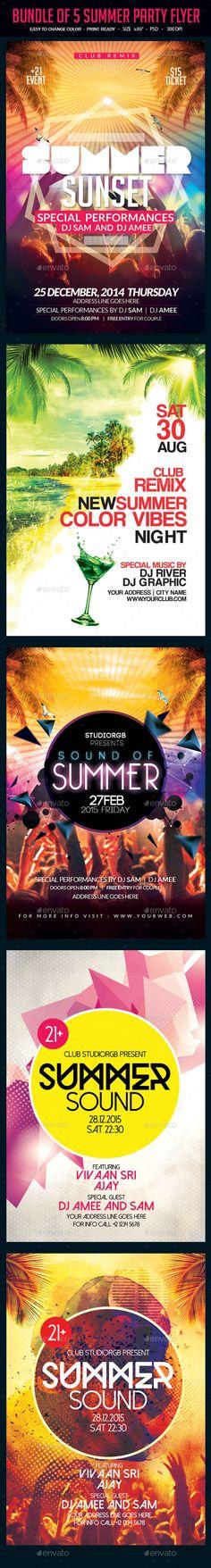 Bundle of 5 Summer Party Flyer Template #design Download: http://graphicriver.net/item/bundle-of-5-summer-party-flyer/12016311?ref=ksioks