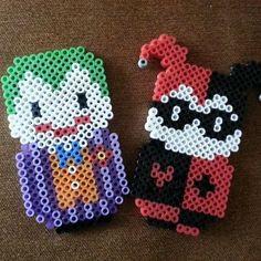 Joker and Harley Quinn perler beads by flyingsaucercrafts