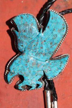 Vintage Southwestern Sterling Silver Carved Turquoise Flying Eagle Bolo Tie | eBay