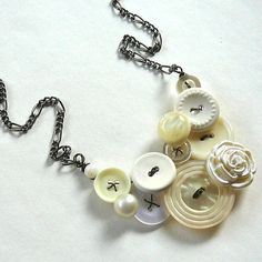 White Flower Statement Bridal Wedding by buttonsoupjewelry on Etsy