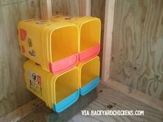 15 Chicken Nesting Box Hacks Cats Toys Ideas Cat condo in use Made from tidy cat bucket More on Ideal toys for small cats Step 1 Prepare Your Boxes Build Chicken Nes.
