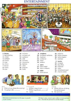 106 - ENTERTAINMENT - Pictures dictionary - English Study, explanations, free exercises, speaking, listening, grammar lessons, reading, writing, vocabulary, dictionary and teaching materials