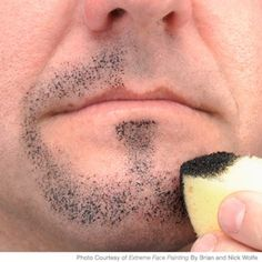 A Note on stippling: This is one of the most useful sponge techniques. Stippling is great for blending color, suggesting texture, indicating highlights and suggesting facial hair.  To get the most realistic result, hold your half sponge upside down so the rounded part touches the skin. Using the edge of the sponge would result in lines - something you want to avoid when stippling.  (Tiger Face Paint - Easy Tiger Face Painting Design - Parenting.com)