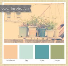 muted peach blue green color palette inspiration