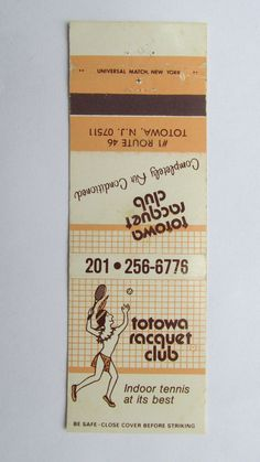 Totowa Racquet Club Totowa, NJ New Jersey 20 Strike Matchbook Cover Matchcover