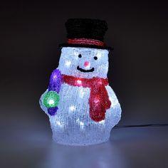 Nádherný, priehľadný snehuliak, vyrobený z akrylu, Vám zabezpečí dokonalú vianočnú výzdobu. 32 bielych LED bude vyžarovať sviatočnú atmosféru aj vo Vašom domove. Veľkosť: (výška x šírka x hrúbka) 26,5 x 18 x 16 cm IP20, Snow Globes, Snowman, Christmas Ornaments, Holiday Decor, Ebay, Lighting, Santa Clause, Christmas Jewelry, Lights